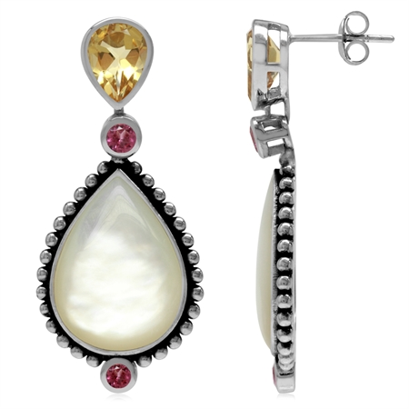Natural Citrine, Tourmaline & Mother Of Pearl 925 Sterling Silver Balinese Style Drop Post Earrings