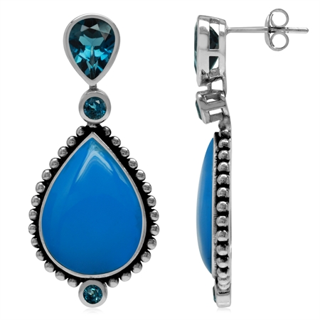 Genuine London Blue Topaz & Created Turquoise 925 Sterling Silver Balinese Style Drop Post Earrings