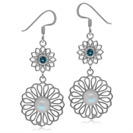6MM Natural Moonstone & London Blue Topaz 925 Sterling Silver Filigree Flower Dangle Hook Earrings