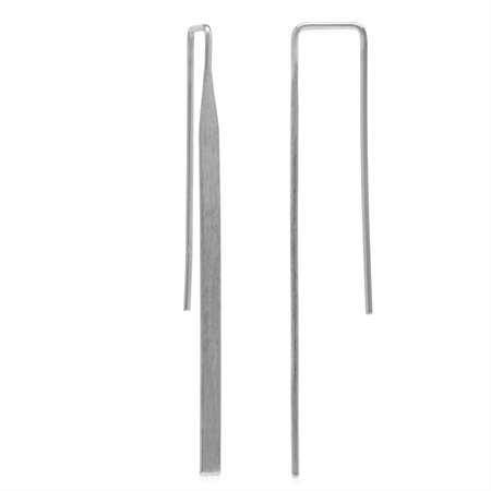 Long White Gold Plated 925 Sterling Silver Matte Finish Threader Earrings