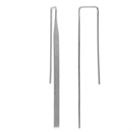 Long White Gold Plated 925 Sterling Silver Matte Finish Threader Earrings