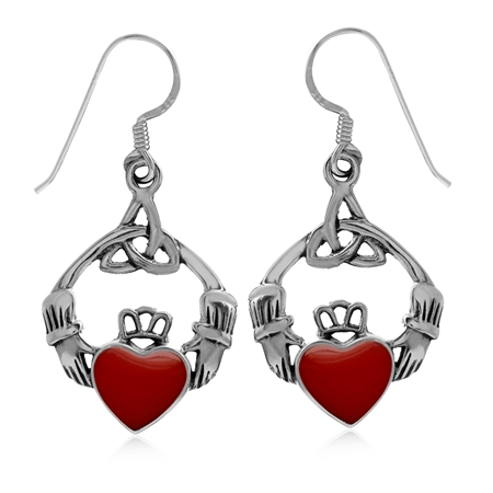 Created Red Coral 925 Sterling Silver Triquetra Celtic Knot Claddagh Dangle Hook Earrings