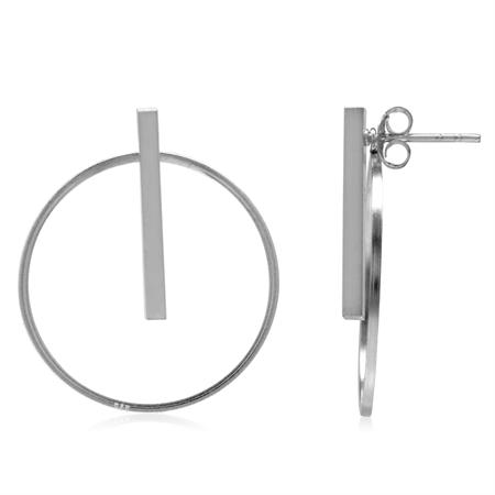 White Gold Plated 925 Sterling Silver Hoop & Stick 2-Way Stud & Ear Jacket Earrings
