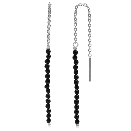 Black Crystal White Gold Plated 925 Sterling Silver Threader Earrings