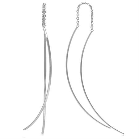 White Gold Plated 925 Sterling Silver Threader Earrings