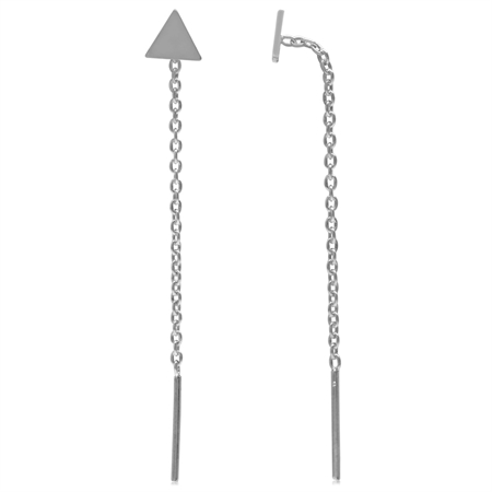 White Gold Plated 925 Sterling Silver Triangle Geometric Threader Earrings