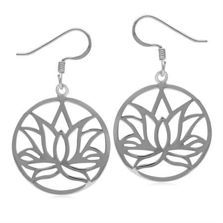 White Gold Plated 925 Sterling Silver Filigree Lotus Flower Circle Dangle Hook Earrings