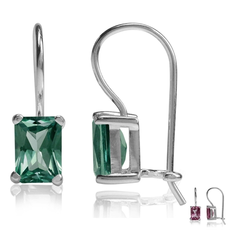 7x5MM Octagon Shape Simulated Color Change Alexandrite 925 Sterling Silver Hook Closure Earrings