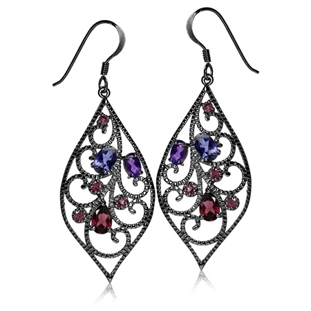 Natural Iolite, African Amethyst & Rhodolite Garnet 925 Sterling Silver Drop Dangle Hook Earrings
