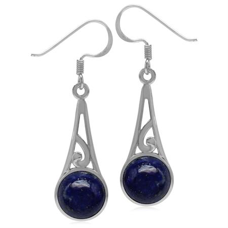 9MM Round Genuine Blue Lapis 925 Sterling Silver Filigree Swirl Cone Shape Dangle Hook Earrings
