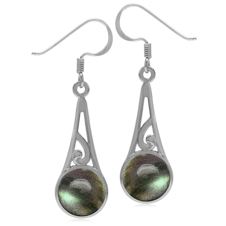 9MM Round Labradorite 925 Sterling Silver Filigree Swirl Cone Shape Dangle Hook Earrings