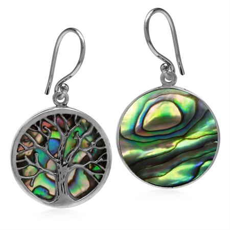 18MM Round Disc Shape Abalone/Paua Shell 925 Sterling Silver Tree of Life Dangle Hook Earrings