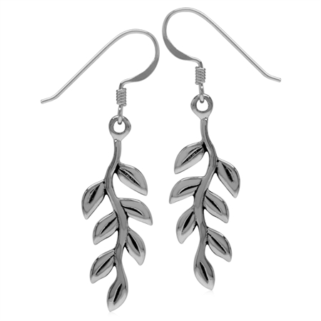 Bar Leaf 925 Sterling Silver Long Linear Drop Dangle Hook Earrings