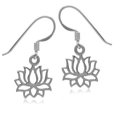 Blooming Lotus Flower 925 Sterling Silver White Gold Plated Fashion Dangle Hook Earrings