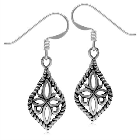 Petite Vintage Inspired 925 Sterling Silver Filigree Flower in Rope Drop Dangle Hook Earrings