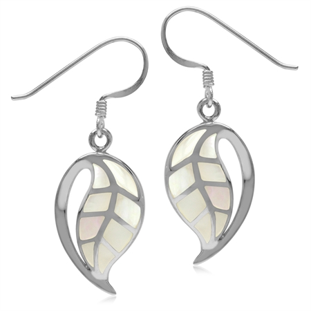 Pink Mother Of Pearl 925 Sterling Silver Leaf Trendy Fashion Drop Dangle Hook Earrings