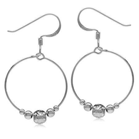 20MM O-Hoop w/Textured Bead Balls 925 Sterling Silver White Gold Plated Dangle Hook Earrings