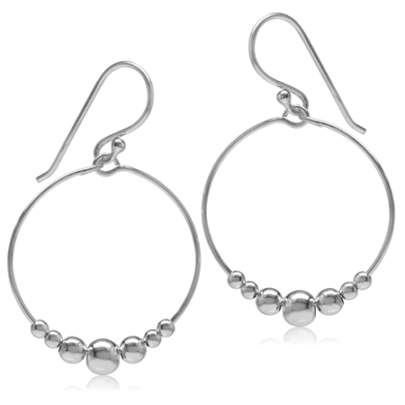 20MM O-Hoop w/Bead Balls 925 Sterling Silver White Gold Plated Dangle Hook Earrings