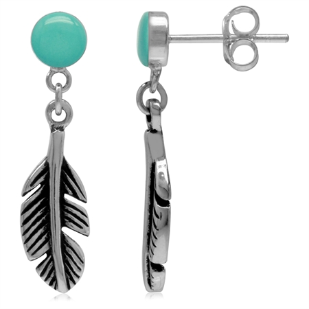 5MM Created Round Shape Green Turquoise 925 Sterling Silver Feather Dangle Stud/Post Earrings