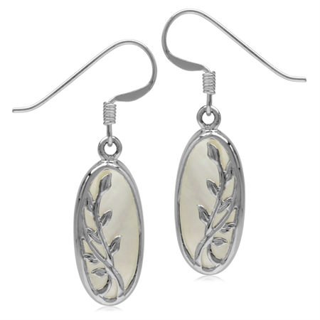 Mother Of Pearl White Gold Plated 925 Sterling Silver Vine Leaf Dangle Hook Earrings