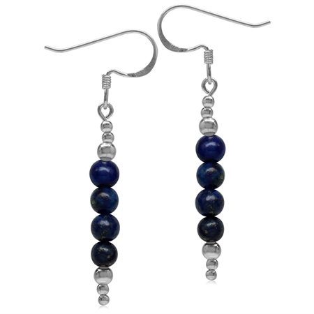 Created Blue Lapis w/Bead Balls 925 Sterling Silver White Gold Plated Journey Dangle Hook Earrings