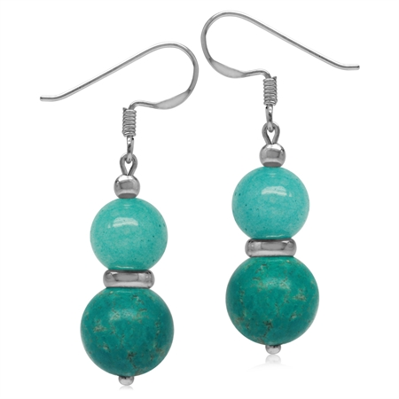 Twin Created Green Turquoise & Dyed Agate Sphere Ball 925 Sterling Silver Dangle Hook Earrings