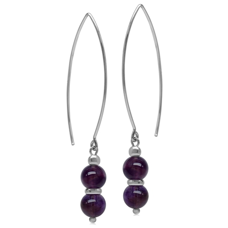 6MM Twin Amethyst Sphere Ball 925 Sterling Silver White Gold Plated Threader Earrings