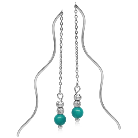 5MM Created Turquoise w/Textured Bead Balls 925 Sterling Silver Wavy Minimalist Threader Earrings