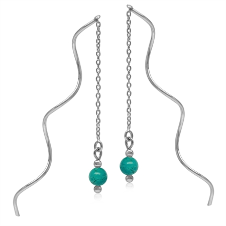 5MM Created Green Turquoise Sphere Ball 925 Sterling Silver Wavy Minimalist Threader Earrings