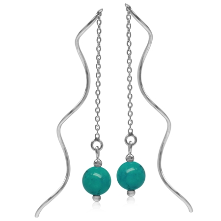 6MM Created Green Turquoise Sphere Ball 925 Sterling Silver Wavy Minimalist Threader Earrings