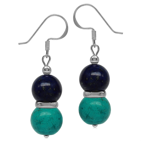 Twin Created Green Turquoise & Blue Lapis Sphere Ball 925 Sterling Silver Dangle Hook Earrings