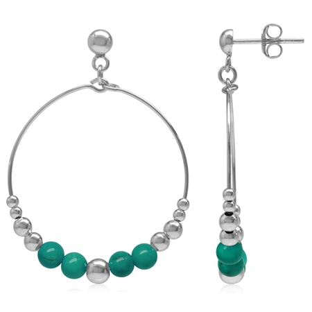 Graduated Created Green Turquoise w/Bead Balls 925 Sterling Silver O-Hoop Stud/Post Earrings