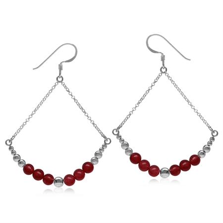 Graduated Red Agate w/Bead Balls 925 Sterling Silver White Gold Plated Chain Dangle Earrings