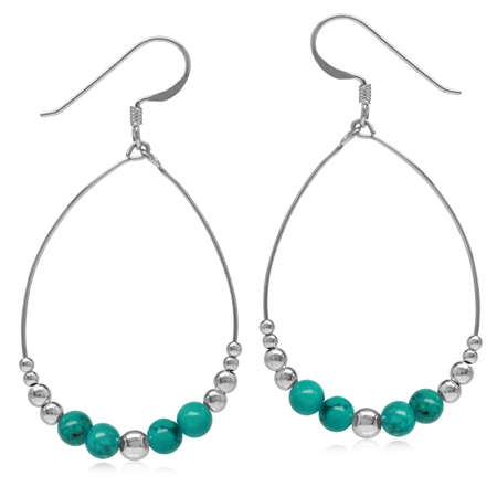 Graduated Created Green Turquoise w/Bead Balls 925 Sterling Silver Oval Hoop Dangle Earrings