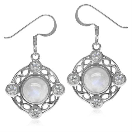 8MM Natural Moonstone & White CZ 925 Sterling Silver Celtic Knot Ribbon/Weave Dangle Hook Earrings