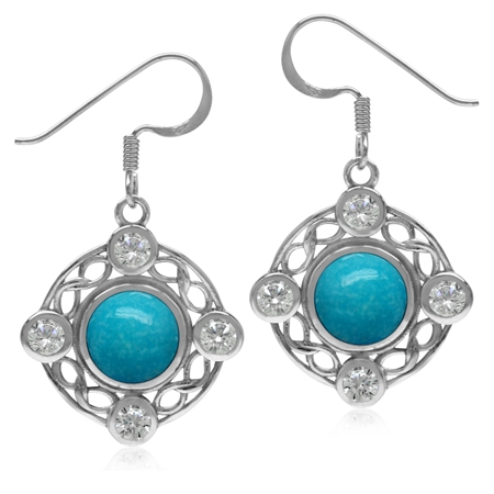 8MM Genuine Arizona Turquoise & White Topaz 925 Sterling Silver Celtic Knot Ribbon Dangle Earrings