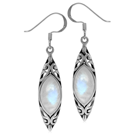 14x7MM Natural Marquise Shape Moonstone 925 Sterling Silver Filigree Dangle Hook Earrings