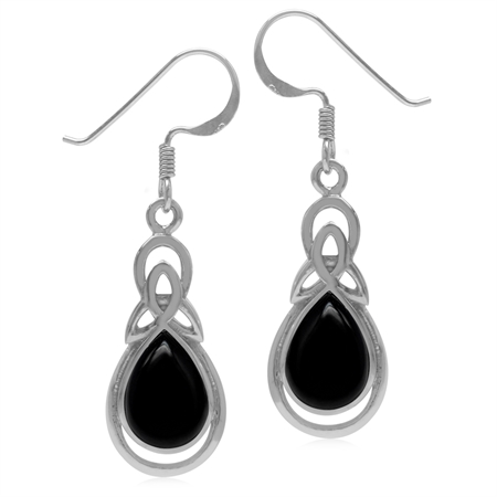 Genuine Pear Shape Black Onyx 925 Sterling Silver Triquetra Celtic Knot Drop Dangle Hook Earrings