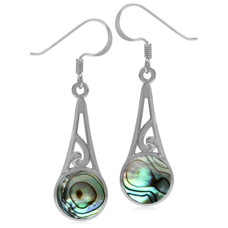 9MM Round Abalone/Paua Shell Inlay 925 Sterling Silver Filigree Swirl Cone Shape Dangle Earrings