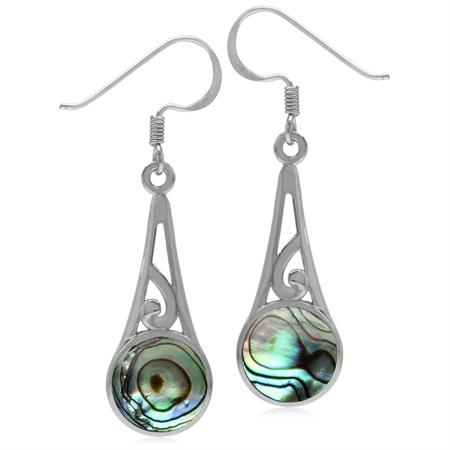 9MM Round Abalone/Paua Shell Inlay 925 Sterling Silver Filigree Swirl Cone Shape Dangle Earrings
