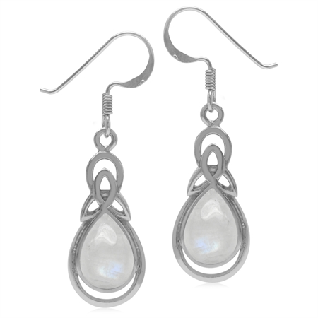Natural Pear Shape Moonstone 925 Sterling Silver Triquetra Celtic Knot Drop Dangle Hook Earrings