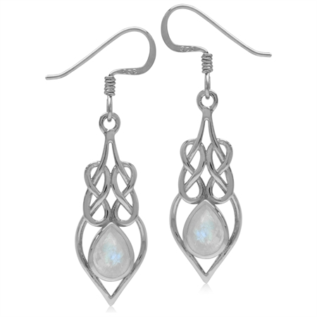 Natural Moonstone 925 Sterling Silver Celtic Knot/Weave Drop Dangle Earrings