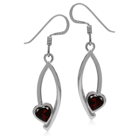 1.06ct. Natural Heart Shape Garnet 925 Sterling Silver Drop Dangle Hook Earrings