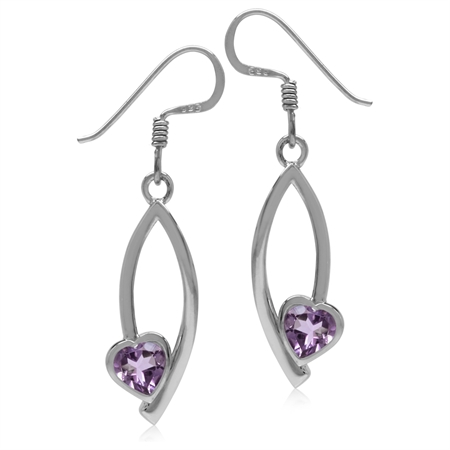 5MM Natural Heart Shape Amethyst 925 Sterling Silver Drop Dangle Hook Earrings