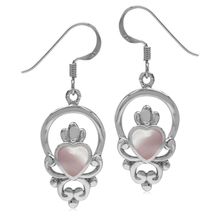 Pink Mother Of Pearl 925 Sterling Silver Irish Claddagh Loyalty Symbol Earrings