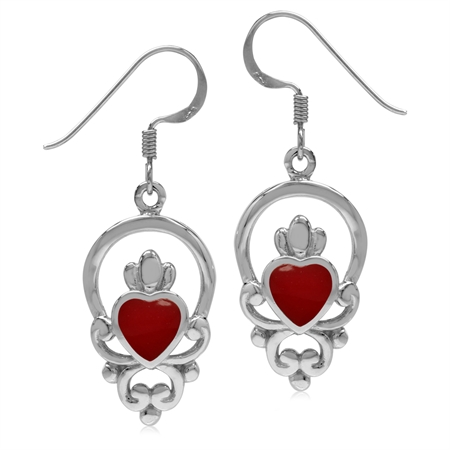 Heart Created Coral 925 Sterling Silver Irish Claddagh Loyalty Dangle Earrings
