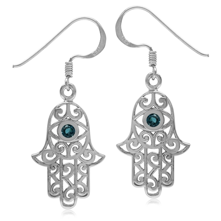 Genuine London Blue Topaz 925 Sterling Silver Evil Eye On Hamsa Hand Earrings