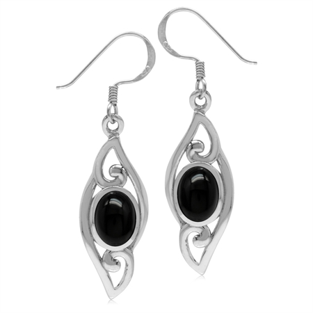 8x6MM Oval Genuine Onyx 925 Sterling Silver Filigree Swirl Drop Dangle Earrings