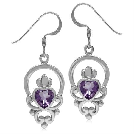 1.28ct Heart Amethyst 925 Sterling Silver Irish Claddagh Loyalty Symbol Earrings