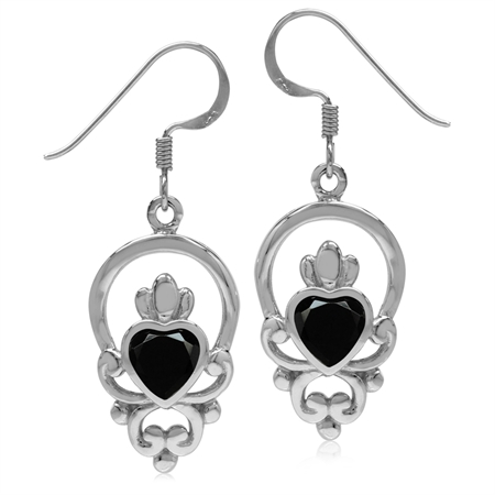 Natural Black Spinel 925 Sterling Silver Irish Claddagh Loyalty Symbol Earrings